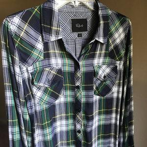 Rails Navy, Green & White Plaid Shirt Size S